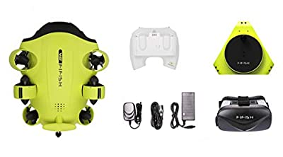 QYSEA FIFISH V6 Underwater Drone with Head-Tracking Function + VR Box + 100M Cable + Spool + 64G Internal Storage Bundle