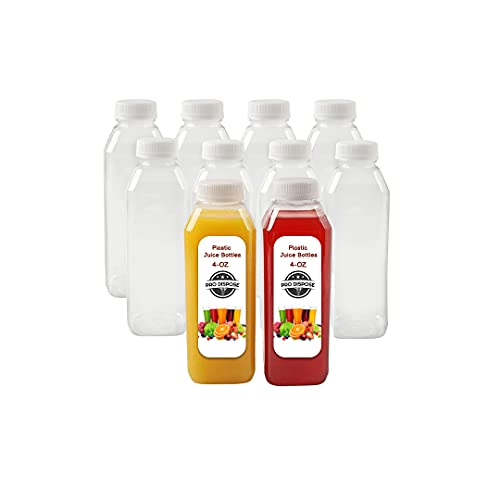 [4 Oz.] Plastic Juice Bottles, 10 Pack Food Grade BPA Free Empty Square Milk Containers, Great For Storing Homemade Juices, Milk, Beverages, With Tamper Evident Caps.