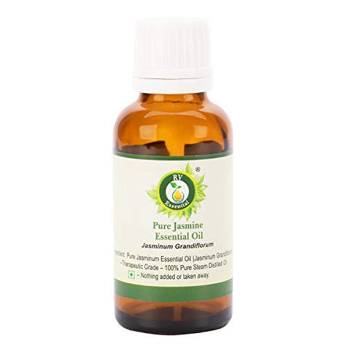 R V Essential Reines Jasmin Ätherische Öl 10ml (0.338 Unzen) - Jasminum Grandiflorum (100% reiner und natürlicher Dampf destilliert) Pure Jasmine Essential Oil