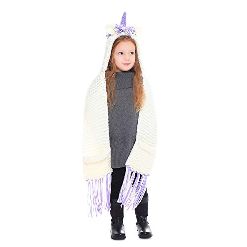 SENSERISE Winter Kids Warm Animal Hats Knitted Hood Scarf Beanies 9 Purple Unicorn(3-10 Years Old)