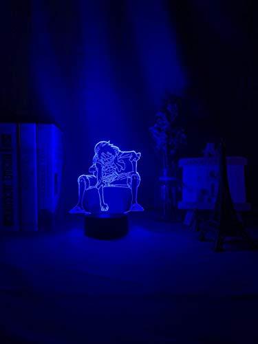 ZGLQ - Luz nocturna 3D con forma de mono en forma de luffy, por USB, funciona con pilas, luz nocturna para niños y niños, decoración LED, una sola pieza