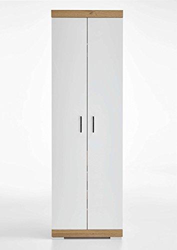 AVANTI TRENDSTORE - Bristo - Arredamento da Ingresso in Laminato di Quercia Antica e Bianco Lucido (Armadio)