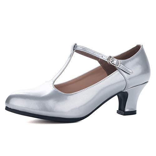 JUODVMP Zapatos de Baile Latino Cerrados Zapatos de Baile de Salón para Mujer con Tira en T Zapatos de Personaje Modelo-KM719 Plateado 37 EU