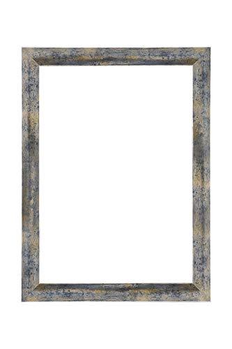 EUROLine35 mm Bilderrahmen für 63 x 136 cm Bilder, Farbe: Blau Silber Gold, inkl. entspiegeltem Acrylglas und MDF Rückwand, Rahmen Breite: 35 mm, Außenmaß: 68,8 x 141,8 cm