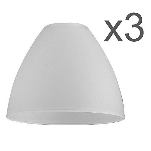 MiniSun – Schöne schüsselförmige Ersatzlampenschirme aus weißem Milchglas (3er Set) – Glas Ersatzschirme