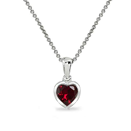 Sterling Silver Synthetic Ruby 7mm Heart Bezel-Set Solitaire Dainty Pendant Necklace for Women Teen Girls