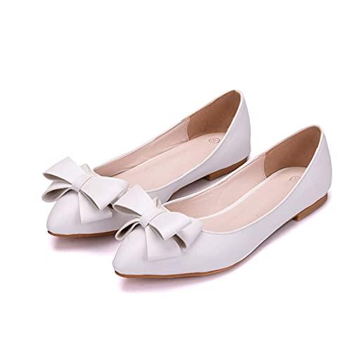 YLKCU Zapatos de Novia para Mujer, Moda, Nudo de Lazo Blanco, Punta...