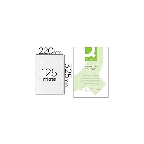 Q-Connect - Bolsa De Plastificar 325 X 220 Mm 125Mc Folio Caja De 100 Unidades