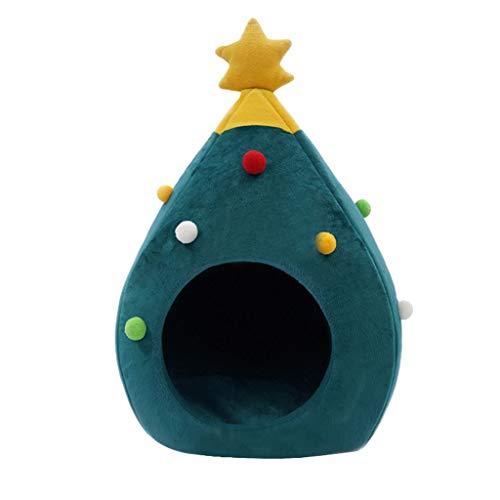 Bluelucon schattige kattenhuis-semi-gesloten kerstwarmer kerstboom kattenholle kattenhuis huisdier slaapzak winter huisdier kat bed nest kerstdecoratie