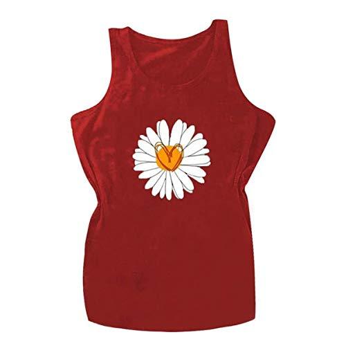 NOBRAND Camisas de margaritas para mujeres Vinitage Graphic Tank Tops Sunflower Print Blusa adolescente Chicas Moda Verano Camisetas sueltas Gris rosso XXX-Large