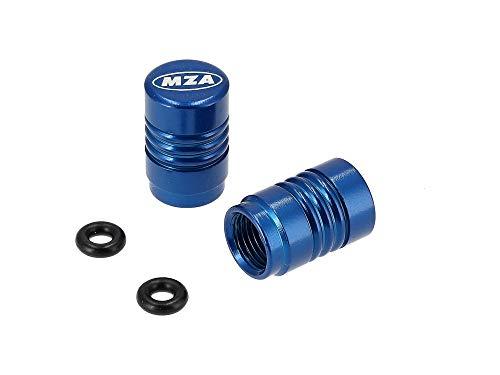 SET Ventilkappe (2 Stück) Alu blau eloxiert - MZA-Design-Kappe, incl. O-Ringe/Dichtungen