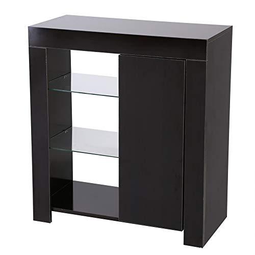 Ejoyous Aparador Moderno, Mueble de almacenaje Aparador Moderno aparador de Alto Brillo con Luces LED RGBW y Mando a Distancia para salón y Oficina 75 x 35 x 83 cm(Marco Negro Cara Negra)