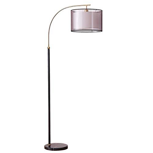 MFLASMF Lámpara de pie arqueada Negra, lámpara de pie Moderna con Base de mármol y Pantalla de Tela Doble, lámpara de Lectura E27 para Sala de Estar, Dormitorio, Estudio (Color: Negro)
