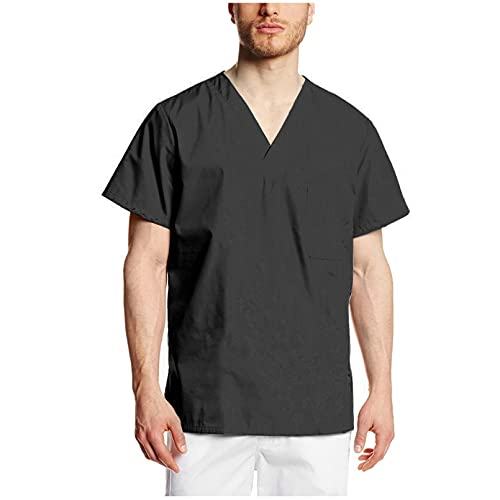 Owenqian Herren T-Shirts,Männer einfarbige T-Shirts Coole Kurzarm-T-Shirts mit V-Ausschnitt Pflege-Arbeitskleidung T-Shirts Overalls Peelings Uniformen Top