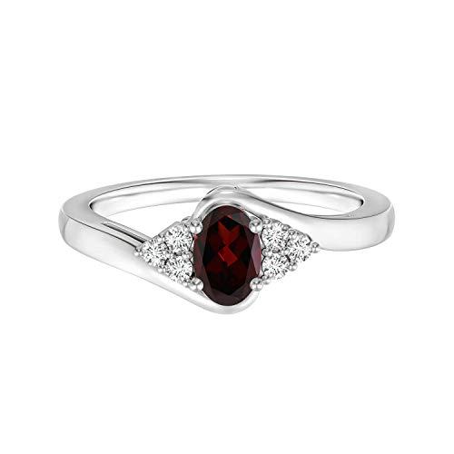 Shine Jewel 1.00 Ctw Oval Cut Granate Gemstone 925 Plata de Ley Mujeres Boda Cluster Solitario Anillo (21)
