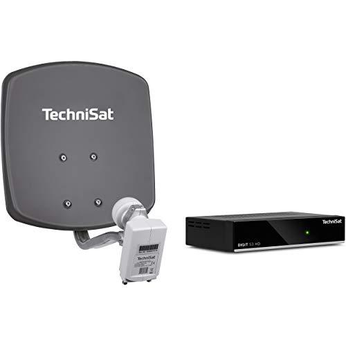 Preisvergleich Produktbild TechniSat DIGIDISH 33 Satelliten-Schüssel Komplettset mit HD Receiver (33 cm Sat-Anlage mit Wandhalterung,  Universal Twin-LNB für bis zu 2 Teilnehmer,  10 m Kabel und Sat-Receiver) grau