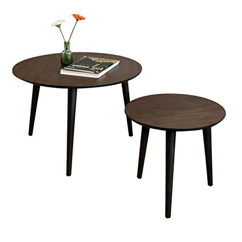 SoBuy FBT40-BR, Nesting Tables, Set of 2 Round Wooden Coffee Table, Side Table, End Table