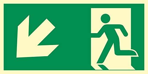 Rettungsweg links abwärts Notausgang Rettungswegschild Schild Nachleuchtend ASR A1.3 300 x 150 mm
