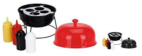 6 pièces. Accessoires de grill : supports pour moutarde et ketchup et salière et poivrière - Couleur au choix - Pour barbecue, Métal, rouge