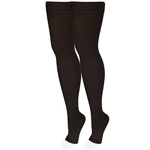 NuVein Medical Compression Stockings, 20-30 mmHg Support, Women & Men Thigh Length Hose, Open Toe, Black, Medium