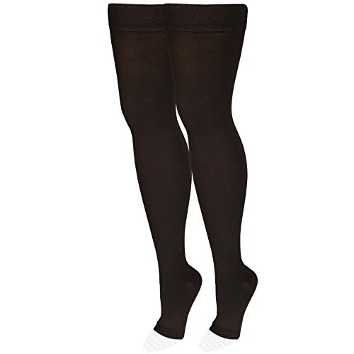 NuVein Medical Compression Stockings, 20-30 mmHg Support, Women & Men Thigh Length Hose, Open Toe, Black, Medium