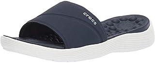 Crocs Women's Reviva Slide Sandal, navy/white, 8 M US