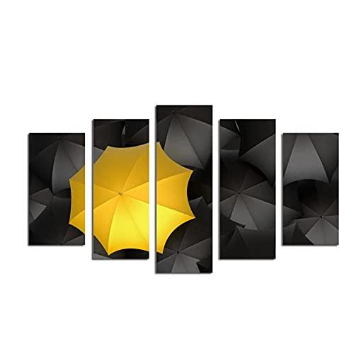 LLXHG 5 Piezas de Carteles e Impresiones de Lienzo para Sala de Estar, sombrillas Amarillas y Negras, Pintura HD para el hogar para decoración-30x50 30x70 30x80cm sin Marco
