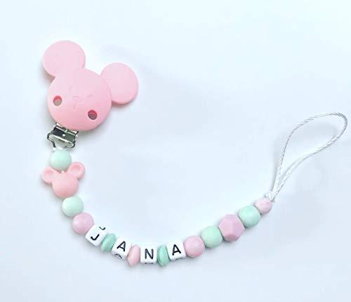 Schnullerkette Nuckelkette rosa mint grün Silikon mit Namen Mädchen Maus