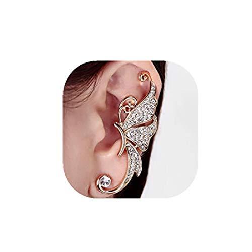 yichahu Fine Jewelry - Pendientes de oreja con diseño de elfos y mariposa, para mujer, color blanco