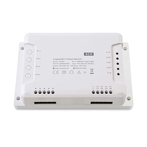 Sonoff 4CH R2 Interruptor Remoto 4 Canales WIFI Smart Switch Inteligente Inalámbrico Conmutador de Control Remoto del Temporizador(Para Alexa (Amazon Echo, Echo Dot y Amazon Tap)
