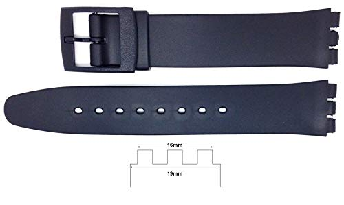 New 16mm (19mm) Sized Resin Strap Compatible for Swatch® Watch - Black - RG14