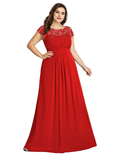 Ever-Pretty Womens Empire Waist Chiffon Ruched Wedding Party Bridesmaid Dresses Red US 14