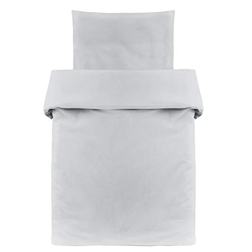 Makian - Funda Nórdica 80x80 cm y Funda Almohada 35x40 cm - Ropa de cama para Minicuna y Moisés, 100% algodón, Certificado ÖkoTex- gris