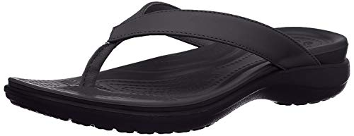Crocs Women's Capri V Flip Flop, Black/Graphite, 8 M US