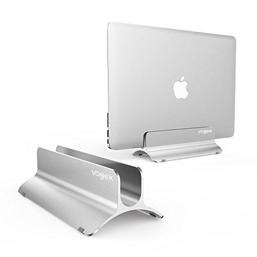 VOGEK Vertical Laptop Stand, MacBook Holder Adjustable Size Desktop Space-Saving Notebook Holder Compatible with MacBook Air/Pro, Surface Pro, Samsung Notebooks and More