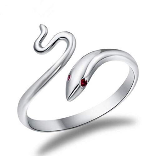 ALOHAMONI (アロハモニ) スネーク リング 白蛇 デザイン ヘビ フリーサイズ シルバー 指輪 ライン なめらか 湾曲 くねくね レトロ レディース メンズ 男女兼用 ユニセックス