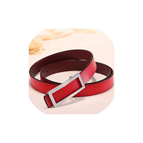 Gouden gesp riem taille vrouwelijke dunne lederen riemen voor vrouwen jurk riem Lb016-Silver-rood-95CM