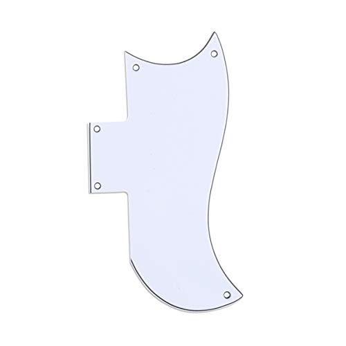 Musiclily Pro 5 Agujeros Small Half Face Pickguard Golpeador de Guitarra para Gibson American SG, 3 capas Blanco