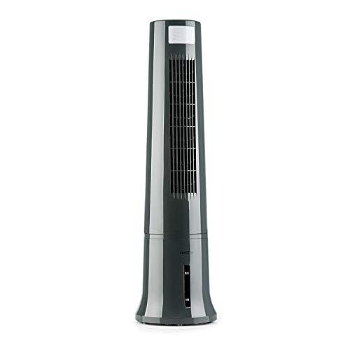 Klarstein Highrise - Ventilator, Klimagerät, Luftkühler, Luftkühler-Ventilator-Kombi, 35 W, Oszillationsfunktion, Tragemulde, 3 Leistungsstufen, 2.5L Tank,Timer, inkl. Fernbedienung und Eis-Pack, grau
