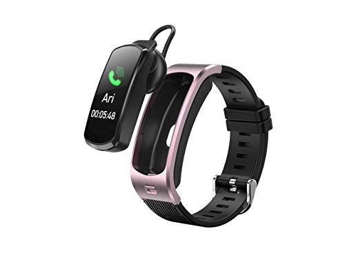 HQHOME Fitness Armband, 2 in 1 Tragbare Headset-Uhr Smartwatch Fitness Tracker Aktivitätstracker Sportuhr mit Schrittzähler Pulsuhren Stoppuhr für Damen Herren Smart Watch (Silikonarmband-Roségold)