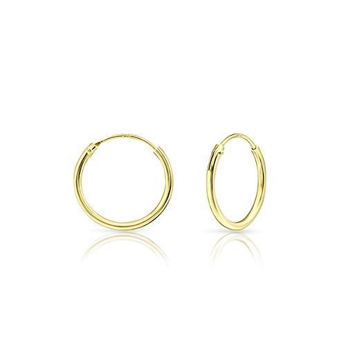 DTPsilver - Damen - Creolen - Ohrringe 925 Sterling Silber und Gelb Vergoldet - Dicke 1.2 mm - Durchmesser 16 mm
