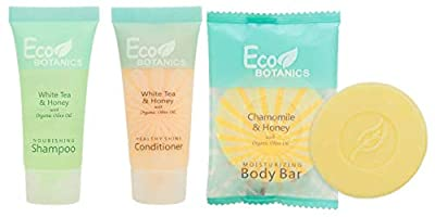Eco Botanics Shampoo & Conditioner with Bar Soap Set | 1-Shoppe All-In-Kit Amenities & Travel Size Toiletries | 20 Shampoo | 20 Conditioner | 50 Body Bar