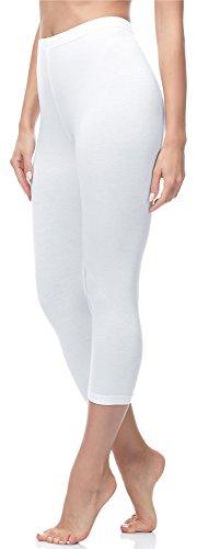 Ladeheid Damen 3/4 Leggings aus Baumwolle LA40-132 (Weiß, L)