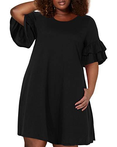 Nemidor Women's Ruffle Sleeve Jersey Knit Plus Size Casual Swing Dress with Pocket (Black, 20W)