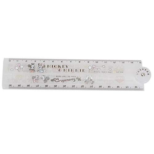 ミッキー&ミニー[ものさし]分度器付き 30cm 折りたたみ 定規/キャラパレ ディズニー