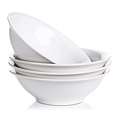Lifver 28-Oz Porcelain Cereal/Soup/Noodle Bowl, Natural White,Set of 4
