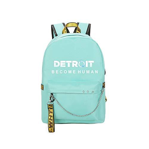 Unisex Detroit Become Human Zaino classico College Business Day zaino da viaggio Business zaino classico per le donne (Color : Green02, Size : 30 X 13 X 43cm)