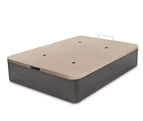 Dormidán - Canapé abatible de Gran Capacidad con Esquinas Redondeadas en Madera, Base tapizada 3D Transpirable + 4 válvulas aireación 135x190cm Color Ceniza