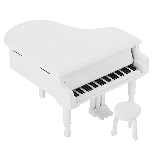 Changor Caja de música Blanca, Hecha de Madera 14.6x12.6x9cm Caja de música de Madera
