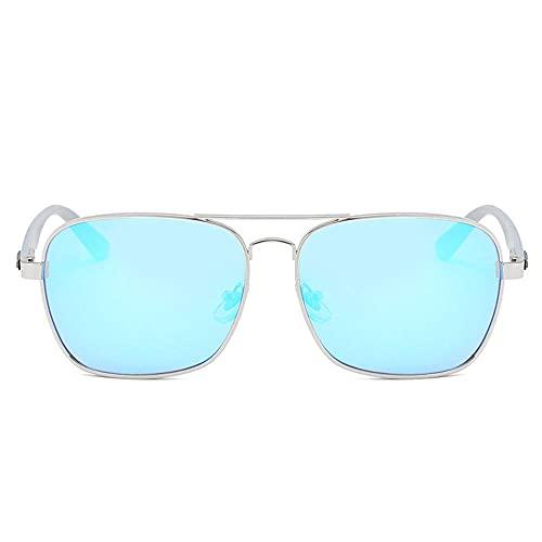 A-Generic Gafas de Sol polarizadas para Hombre para Mujer Clásico Retro Reducción Gafas para Conducir Pesca Deportiva-Marco de Plata de la película Azul
